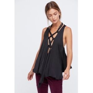 Free People Here With Me Lace Up Cami Top Small